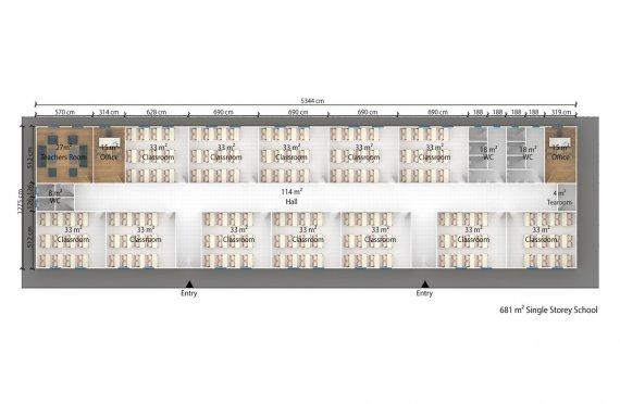 Ruang Kelas Portabel 681 m2