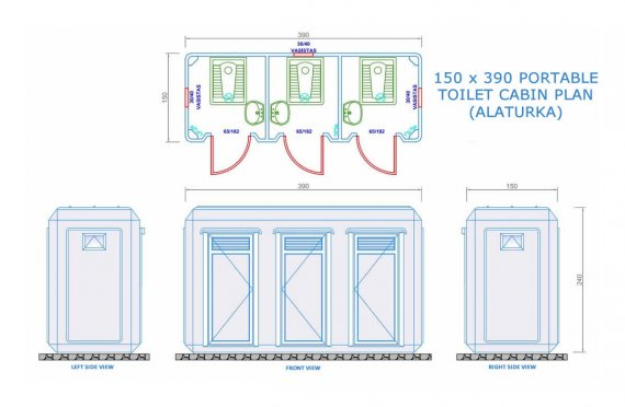 Toilet&Shower Kabin Portabel 150x390