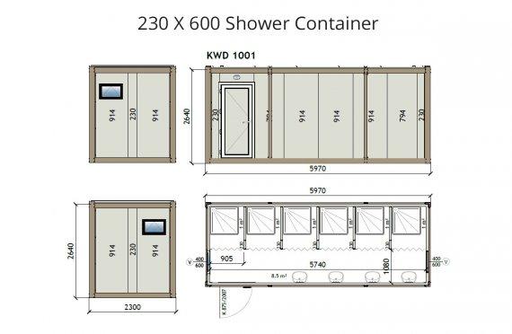 Kontainer Shower KW6 230x600