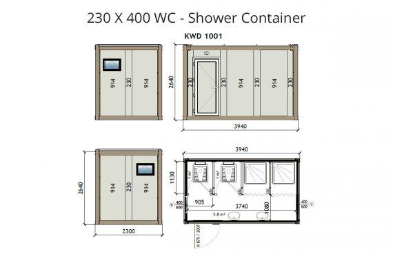 WC -Shower Kontainer KW4 230x400