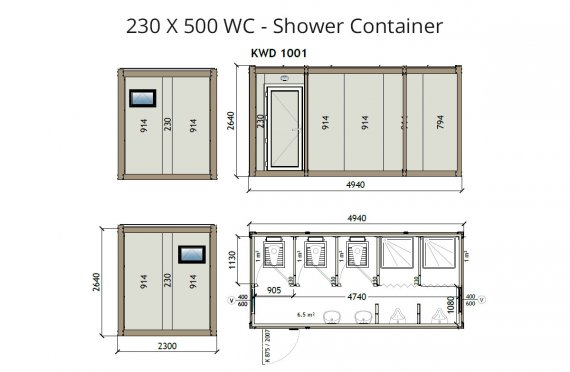 WC -Shower Kontainer KW6 230x500