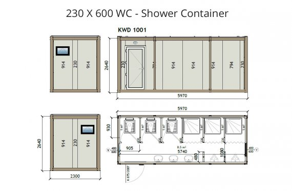 Kontainer Wc-Shower KW6 230x600