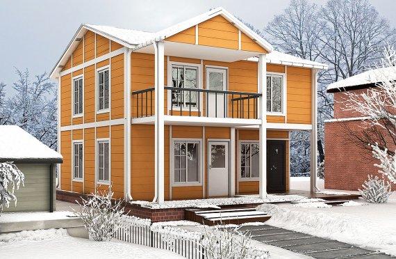 Karmod 112 m² Rumah Modular Prefabrikasi - Desain dan Rancangan