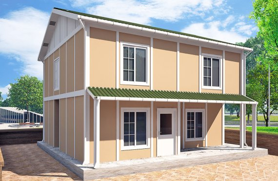 Rumah Modular Prefabrikasi - 51 m² Desain Rumah Modular dan Plan