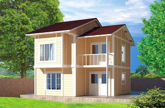 Desain dan Plan Rumah Prefabrikasi modular - 91 m²