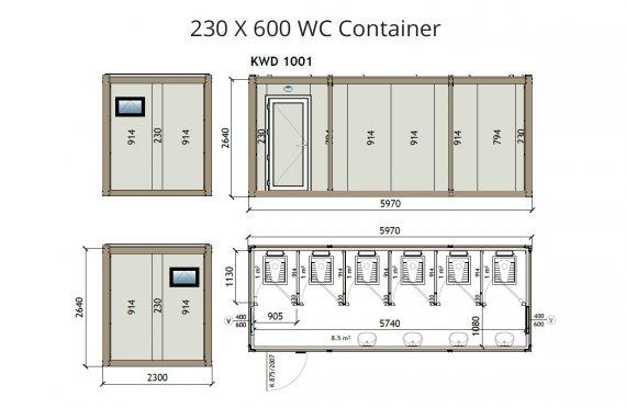 Kontainer Wc KW6 230x600